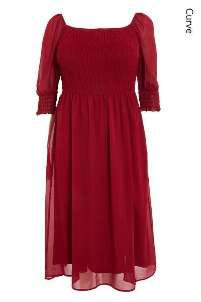 Curve Berry Chiffon Midi Dress